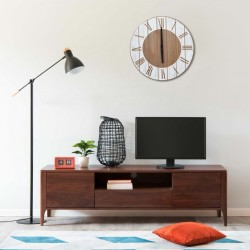 stradeXL Wall Clock Brown and White 39.5 cm MDF