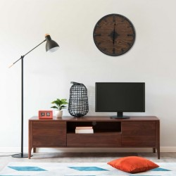 stradeXL Wall Clock Brown and Black 45 cm Iron and MDF