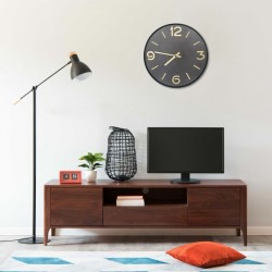 stradeXL Wall Clock Anthracite and Gold 31.5 cm Iron and MDF