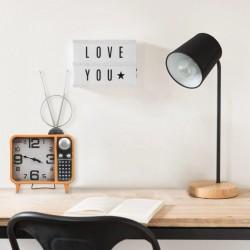 stradeXL Table Clock Orange and Black 25x11x48 cm Iron and MDF