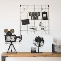 stradeXL Zegar stołowy, czarny, 33x16x45 cm, żelazo i MDF