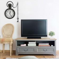 stradeXL Wall Clock Black 20x8x33.5 cm Iron and MDF