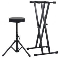 stradeXL Statyw pod keyboard, z podwójną ramą i stołkiem, czarny
