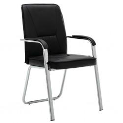 stradeXL Krzesło biurowe, czarne, sztuczna skóra
