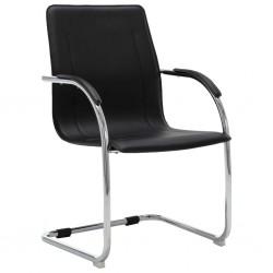 stradeXL Krzesło biurowe, wspornikowe, czarne, sztuczna skóra