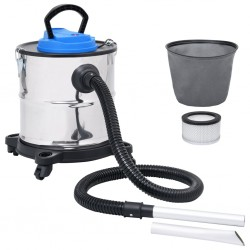 stradeXL Ash Vacuum Cleaner with HEPA Filter 1200 W 20 L Stainless Steel