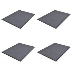 stradeXL Wycieraczki z PVC, 4 szt., szare, 90 x 60 cm