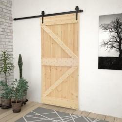 stradeXL Drzwi przesuwne z osprzętem, 90x210 cm, lite drewno sosnowe