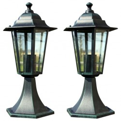 stradeXL Lampy ogrodowe, 2 szt., ciemnozielone/czarne, aluminium