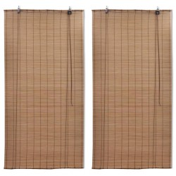 stradeXL Bamboo Roller Blinds 2 pcs Brown 120x220 cm