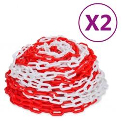 stradeXL Łańcuchy ostrzegawcze, 2 szt., czerwono-białe, plastikowe, 30 m