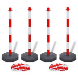stradeXL Set of 4 Chain Posts and 2 Plastic Chians of 10 m Each