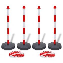 stradeXL Zestaw 4 słupków i 2 plastikowych łańcuchów o długości 10 m