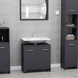stradeXL Bathroom Cabinet Grey 60x33x58 cm Chipboard