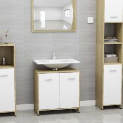 stradeXL Bathroom Cabinet White and Sonoma Oak 60x33x58 cm Chipboard