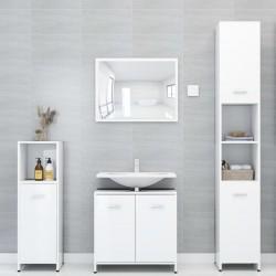 stradeXL Zestaw mebli łazienkowych, wysoki połysk, biały, płyta wiórowa