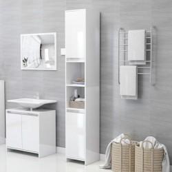 stradeXL Szafka łazienkowa, biała, połysk, 30x30x183,5 cm, płyta wiórowa