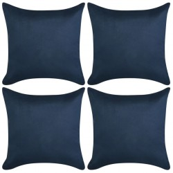 stradeXL Cushion Covers 4 pcs 50x50 cm Polyester Faux Suede Navy