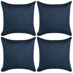 stradeXL Cushion Covers 4 pcs 80x80 cm Polyester Faux Suede Navy