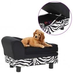 stradeXL Sofa dla psa, czarna, 57x34x36 cm, pluszowa