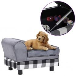 stradeXL Sofa dla psa, szara, 57x34x36 cm, pluszowa