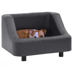 stradeXL Sofa dla psa, szara, 67x52x40 cm, sztuczna skóra