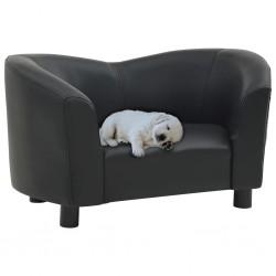 stradeXL Sofa dla psa, czarna, 67x41x39 cm, sztuczna skóra