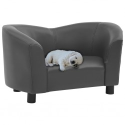 stradeXL Sofa dla psa, szara, 67x41x39 cm, sztuczna skóra