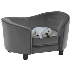 stradeXL Sofa dla psa, szara, 69x49x40 cm, plusz i sztuczna skóra