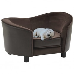 stradeXL Sofa dla psa, brązowa, 69x49x40 cm, plusz i sztuczna skóra