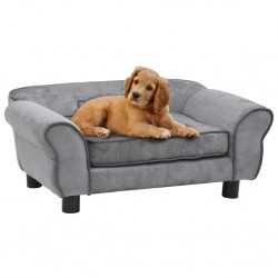stradeXL Sofa dla psa, szara, 72x45x30 cm, pluszowa