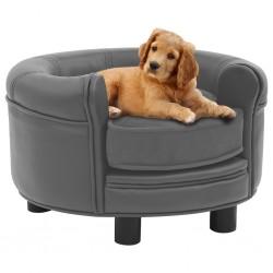stradeXL Sofa dla psa, szara, 48x48x32 cm, plusz i sztuczna skóra