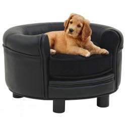 stradeXL Sofa dla psa, czarna, 48x48x32 cm, plusz i sztuczna skóra