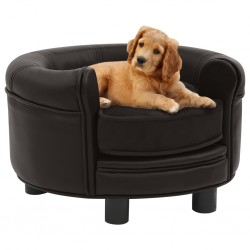 stradeXL Sofa dla psa, brązowa, 48x48x32 cm, plusz i sztuczna skóra