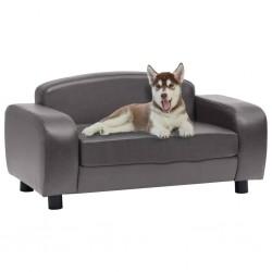 stradeXL Sofa dla psa, szara, 80x50x40 cm, sztuczna skóra
