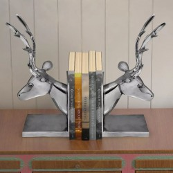 stradeXL Bookends Deer 2 pcs Aluminium Silver