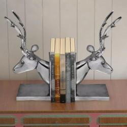 stradeXL Podpórka do książek, motyw jelenia, 2 szt. aluminiowa, srebrna
