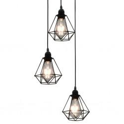 stradeXL Lampa sufitowa, diamentowe klosze, czarna, 3 żarówki E27