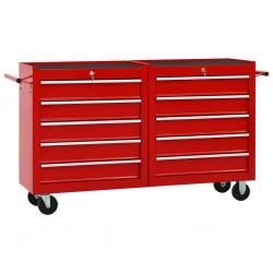 stradeXL Wózek narzędziowy z 10 szufladami, stalowy, czerwony