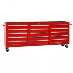 stradeXL Wózek narzędziowy z 15 szufladami, stalowy, czerwony
