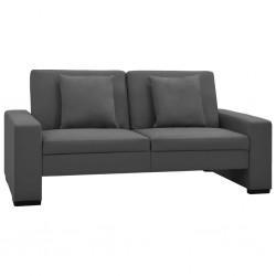 stradeXL Rozkładana sofa, szara, sztuczna skóra