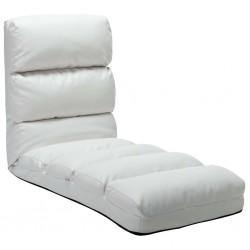 stradeXL Składane krzesło podłogowe, białe, sztuczna skóra