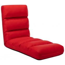 stradeXL Składane krzesło podłogowe, czerwone, sztuczna skóra