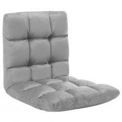stradeXL Składane krzesło podłogowe, jasnoszare, mikrofibra