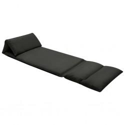 stradeXL Składane krzesło podłogowe, czarne, mikrofibra