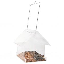 Esschert Design Wiszący karmnik w kształcie domku, łączony, akrylowy