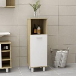 stradeXL Bathroom Cabinet White and Sonoma Oak 30x30x95 cm Chipboard