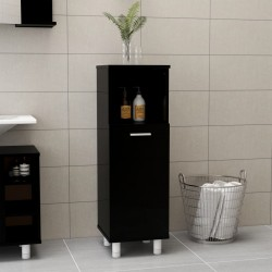 stradeXL Bathroom Cabinet High Gloss Black 30x30x95 cm Chipboard