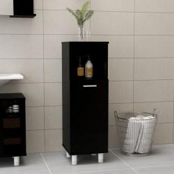 stradeXL Szafka łazienkowa, wysoki połysk, czarna, 30x30x95 cm, płyta