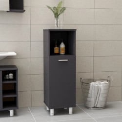 stradeXL Bathroom Cabinet High Gloss Grey 30x30x95 cm Chipboard